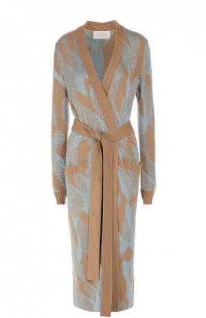 Вязаное пальто-кардиган с поясом и контрастной отделкой Tak.Ori. Цвет: голубой