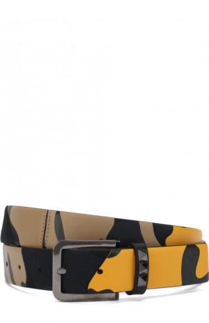 Комбинированный ремень  Garavani с металлической пряжкой Valentino. Цвет: желтый