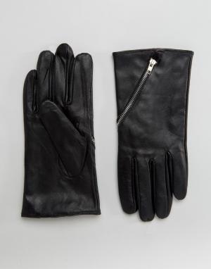 Boardwalk Кожаные перчатки с молниями Boardmans. Цвет: черный