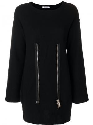 Zip detail knitted dress Dondup. Цвет: чёрный