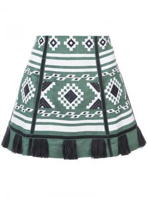 Юбка в этническом стиле с кисточками Vita Kin. Цвет: зелёный