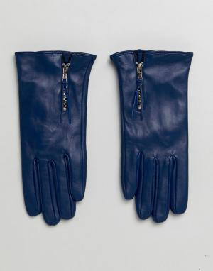 Barney's Originals Перчатки из натуральной кожи с молнией Barneys. Цвет: темно-синий