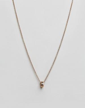 Icon Brand Золотисто-розовое ожерелье с подвеской в виде кольца. Цвет: золотой