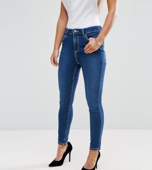 ASOS Petite Выбеленные укороченные джинсы Ridley. Цвет: синий