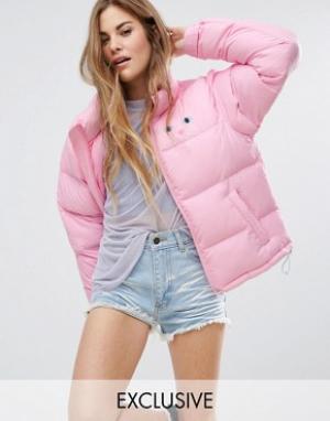 Lazy Oaf Дутая куртка с кошкой. Цвет: розовый