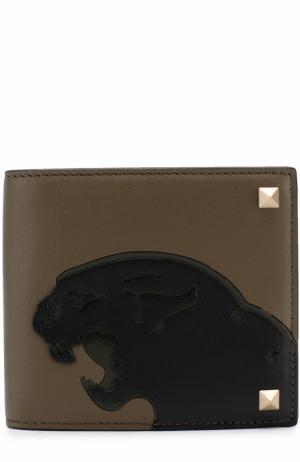 Кожаное портмоне с аппликацией и отделениями для кредитных карт Valentino. Цвет: хаки