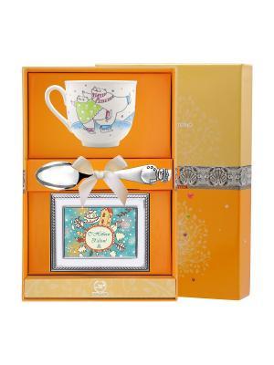 Набор детский Ландыш-Фигурное катание (чашка+ложка+рамка для фото) + футляр АргентА. Цвет: серебристый