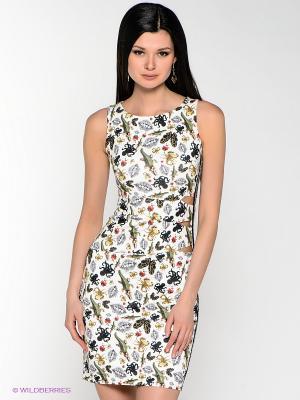 Платье MARY MEA. Цвет: белый, зеленый, желтый