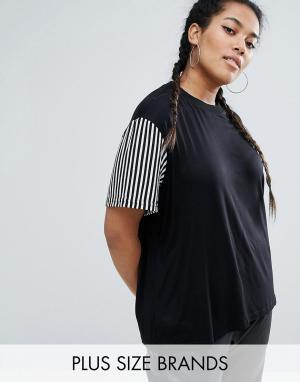 One Three Удлиненная трикотажная футболка с полосатыми рукавами. Цвет: черный