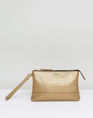 Knomo Кожаный клатч. Цвет: золотой