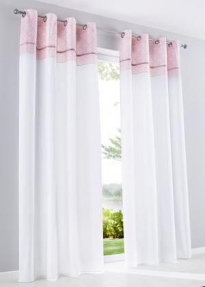 Штора Давина (1 шт.), люверсы (белый/розовая пудра) bonprix. Цвет: белый/розовая пудра