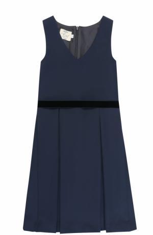 Приталенное платье с защипами и поясом Caf. Цвет: темно-синий