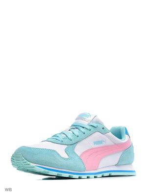 Кроссовки ST Runner L Jr Puma. Цвет: белый, бирюзовый, розовый