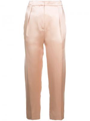 Укороченные брюки с плиссировкой спереди Roksanda. Цвет: розовый и фиолетовый