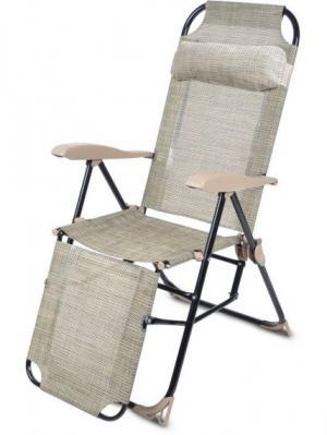 Кресло-шезлонг складное, с подножкой, Nika. Цвет: темно-бежевый