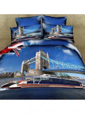 Постельное белье Britain 2,0 сп.Euro Buenas Noches. Цвет: голубой, синий