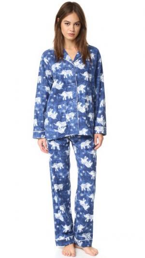 Пижама  с принтом в виде слонов PJ Salvage. Цвет: темно-синий