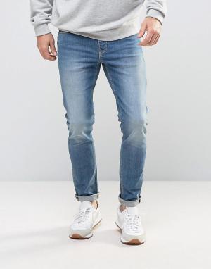 ASOS Голубые джинсы скинни. Цвет: синий