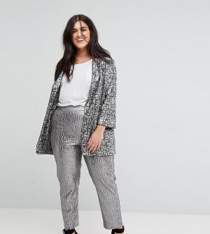 Elvi Серебристые фактурные брюки. Цвет: серебряный