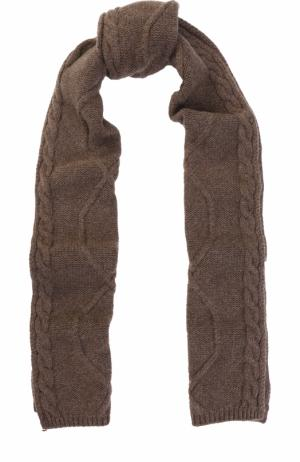 Шерстяной шарф фактурной вязки Colombo. Цвет: темно-бежевый