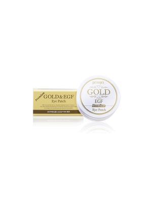 Гидрогелевые патчи для глаз с коллоидным золотом и EGF 60 шт Petitfee. Цвет: золотистый