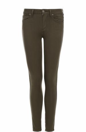 Однотонные джинсы-скинни Paige. Цвет: оливковый