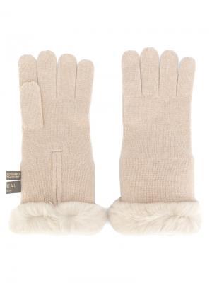 Перчатки с меховой подкладкой N.Peal. Цвет: телесный