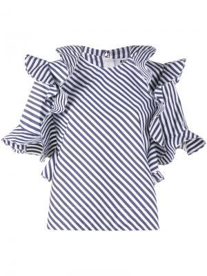 Полосатая блуза с оборками MSGM. Цвет: синий