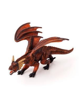 Фигурка Mojo (Animal Planet)- Огненный Дракон с открывающейся/закрывающейся челюстью (Deluxe). Цвет: коричневый,светло-коричневый,рыжий