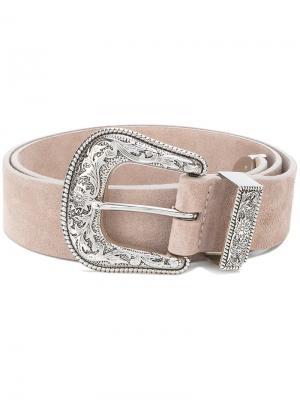 Ремень с гравированной пряжкой B-Low The Belt. Цвет: розовый и фиолетовый