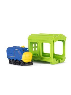 Chuggington набор Паровозик Брюстер с гаражом. Цвет: синий, салатовый