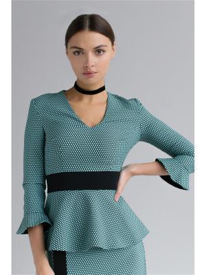 Блузка из жаккарда с баской и воланами на рукавах Self Made. Цвет: бирюзовый, светло-зеленый, черный