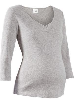 Мода для беременных: футболка с рукавом 3/4 (светло-серый меланж) bonprix. Цвет: светло-серый меланж