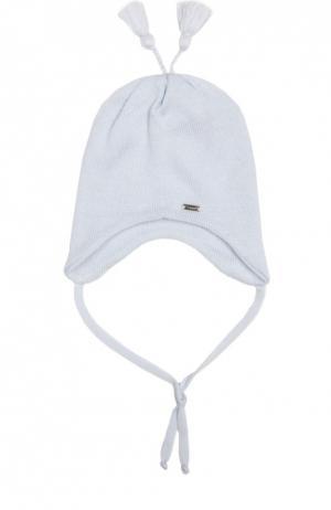 Вязаная шапка с кисточками Il Trenino. Цвет: голубой