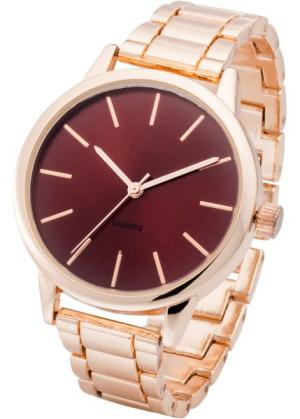 Часы с красным циферблатом (красный/розово-золотистый) bonprix. Цвет: красный/розово-золотистый