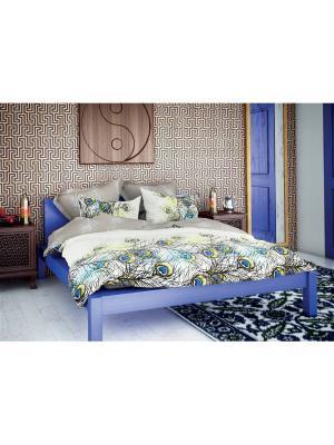 Комплект постельного белья 1,5спальный, ВОЛШЕБНАЯ НОЧЬ, Павлин + думка 40/40 ТЮЛЬПАНЫ ночь. Цвет: белый, серый, голубой