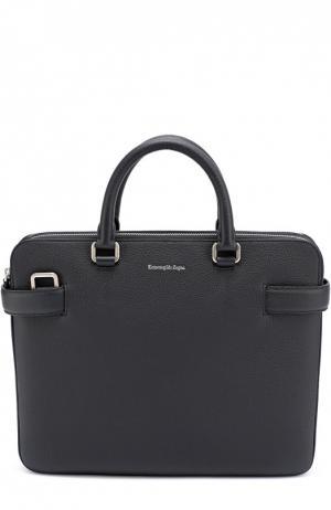 Кожаная сумка для ноутбука с плечевым ремнем Ermenegildo Zegna. Цвет: темно-синий