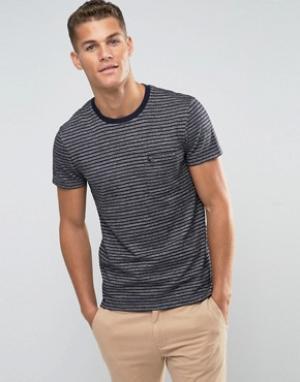 Jack Wills Темно-синяя футболка слим в полоску. Цвет: темно-синий