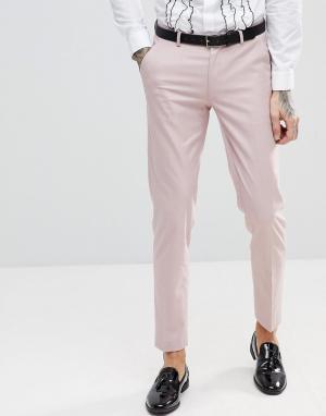 ASOS Розовые зауженные брюки под смокинг. Цвет: розовый