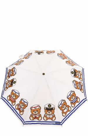 Складной зонт Moschino. Цвет: белый