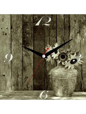 Картина стеновая с часовым механизмом ДСТ. Цвет: светло-коричневый