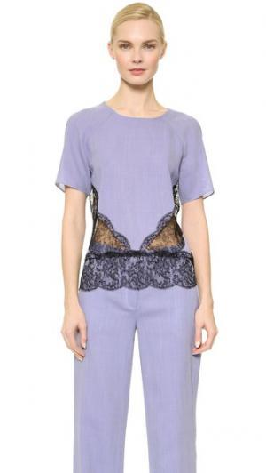 Блуза с кружевной отделкой Wes Gordon. Цвет: парижская лазурь