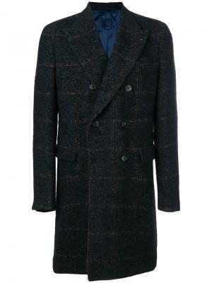 Прямое пальто с длинными рукавами Caruso. Цвет: синий