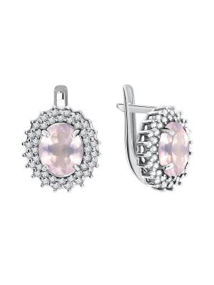 Серебряные серьги KRASNOE. Цвет: серебристый, розовый