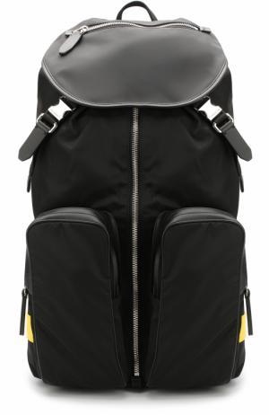 Текстильный рюкзак с клапаном Neil Barrett. Цвет: черный