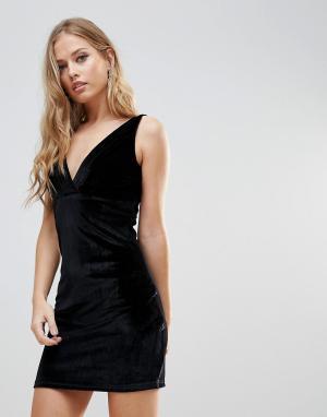 WYLDR Бархатное платье мини с плиссировкой Distractions. Цвет: черный