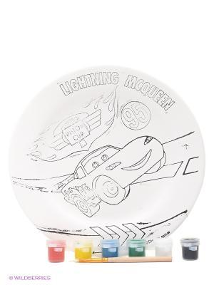 Набор для росписи керамической тарелки Тачки Фабрика Фантазий. Цвет: белый, красный