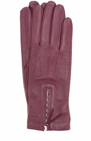 Кожаные перчатки с молниями Agnelle. Цвет: фиолетовый