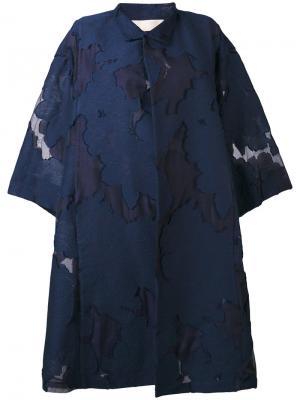 Пальто с вышивкой Mantu. Цвет: синий
