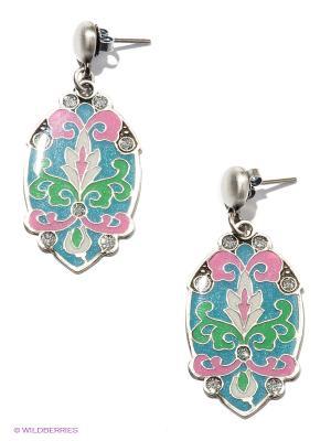 Серьги Clara Bijoux. Цвет: светло-зеленый, бледно-розовый